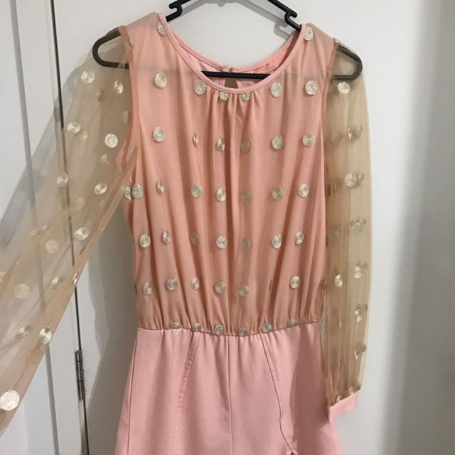 Princess Polly Sheer Sleeve Playsuit Size 8