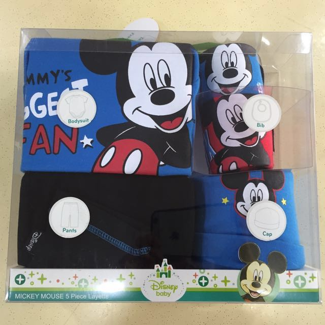 610a60035 {Reserved} Disney Micky Mouse Baby Gift Set 5pcs, Babies & Kids, Babies  Apparel on Carousell