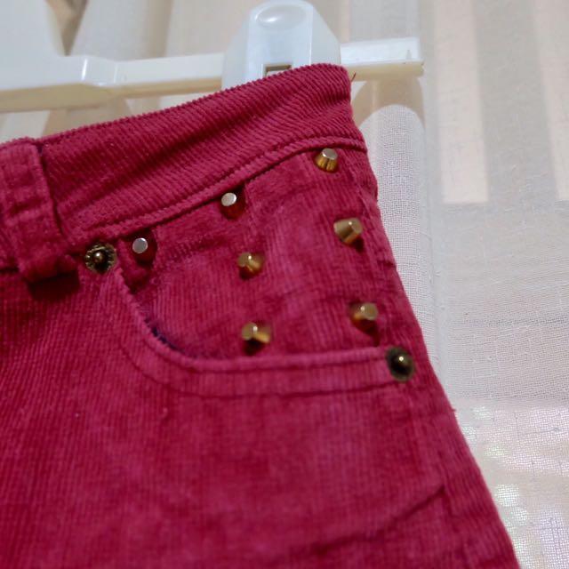 Studded Corduroy Maroon Highwaist Pants