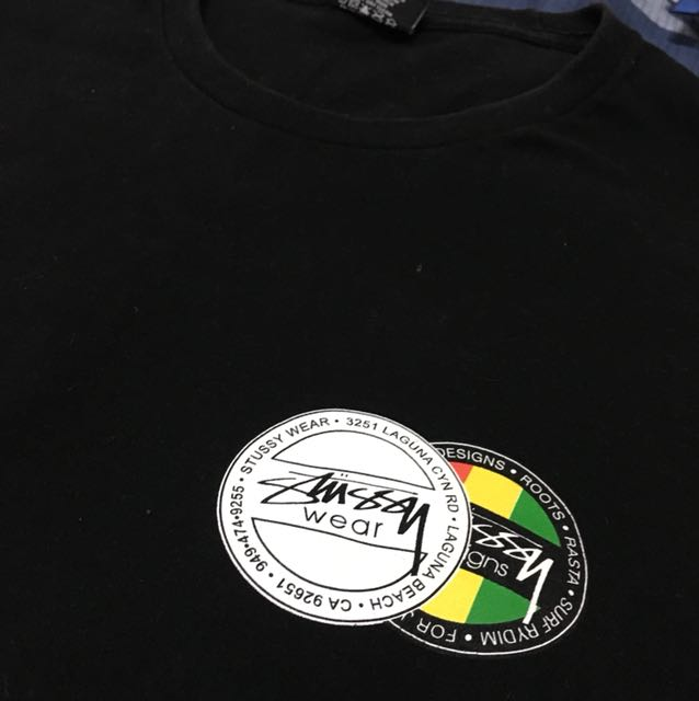 STUSSY 左胸LOGO  牙買加配色 黑M
