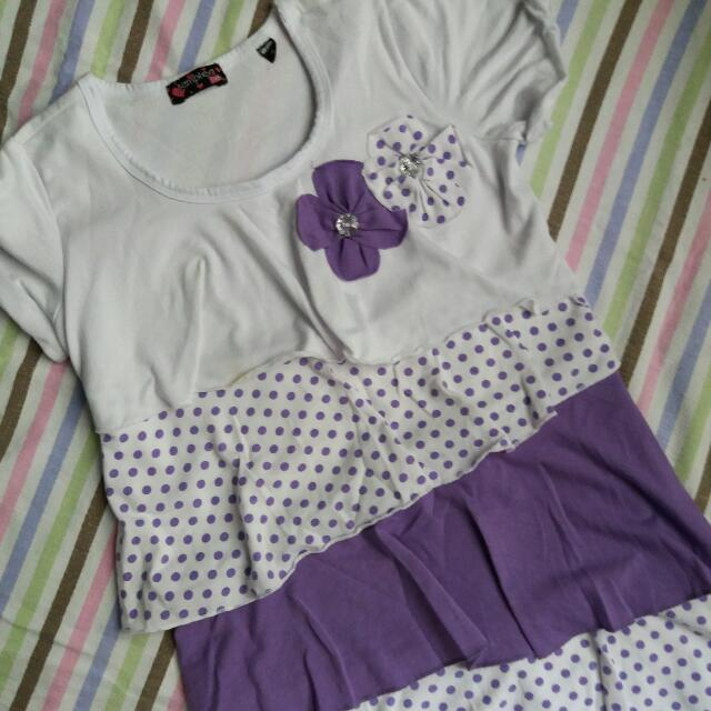 Tempted Girls White And Purple Dress For 3-4 YO Baby Girl