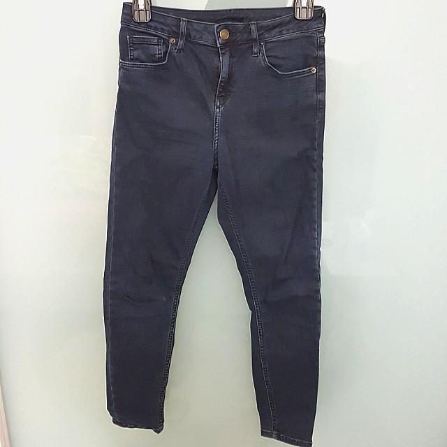 Topshop Dark Indigo high rise skinny jeans