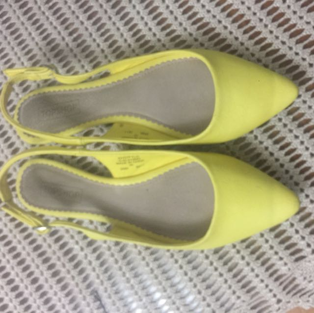Topshop yellow flat sling back, Size 40
