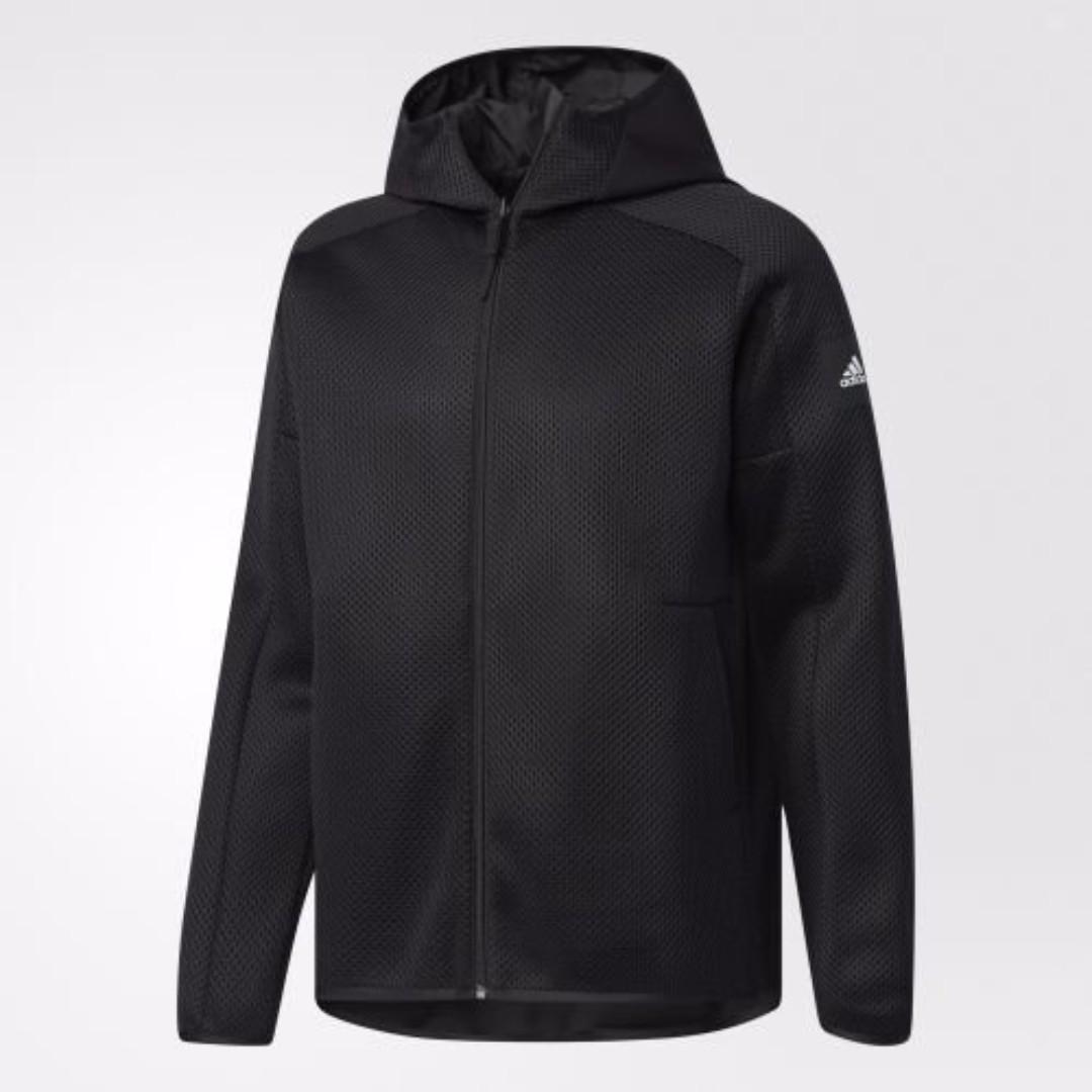 【吉米.tw】ADIDAS ATHLETICS 愛迪達 全黑 黑色 網布 防風 連帽外套 雙面穿 男款 CD2603