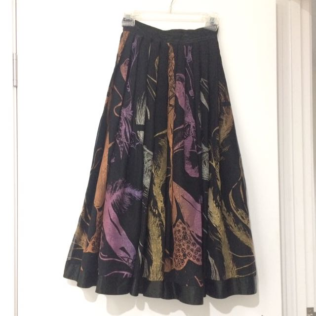 Vintage Size 8 Hand screen printed Multi coloured, lined, A Line skirt