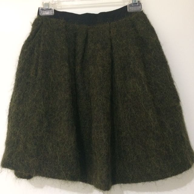 WITCHERY Size 6 Khaki European Textured Fabric A Line Full Lined Short Skirt