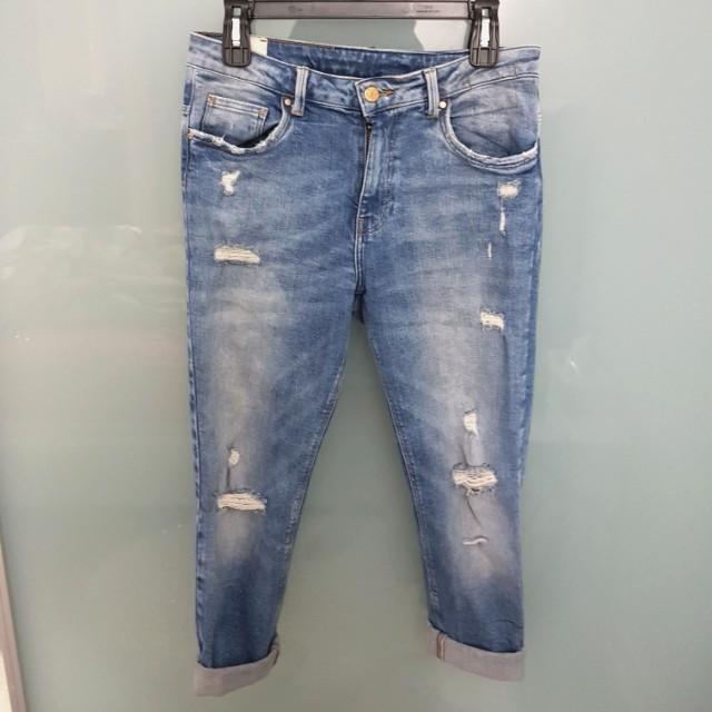 Zara Trafaluc Boyfriend Ripped Jeans