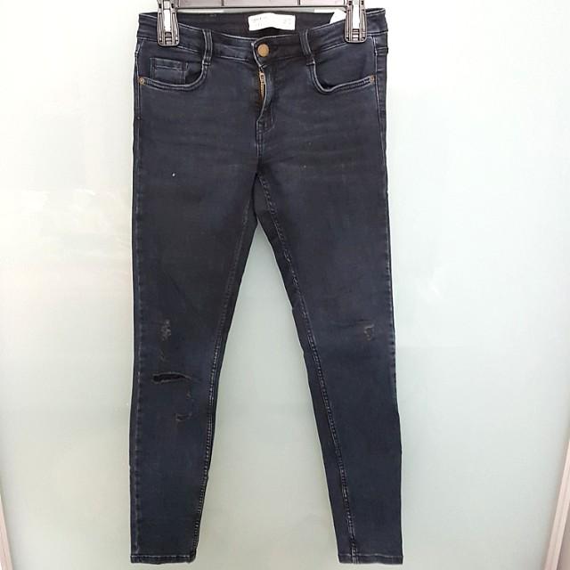 Zara Trafaluc skinny knee ripped jeans