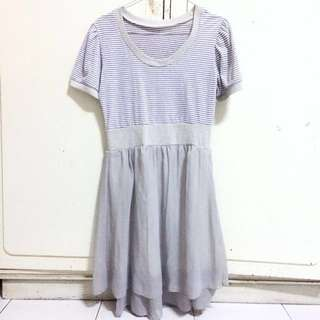 BUY 3 ONLY 55K Grey Stripe Dress