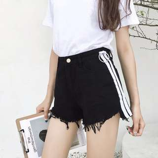 #1212YES Side Strip Shorts with ring