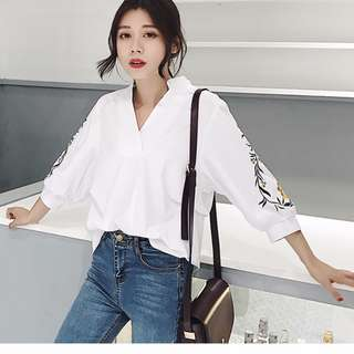 KOREAN STYLE WHITE BLOUSE WITH EMBROIDERY