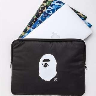 日本雜誌附錄黑色休閒猿人頭BATHING APE多功能iPad平板數碼10英寸收納整理包