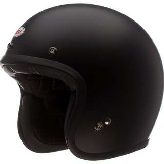 Bell Custom 500 Motorcycle Motorbike Helmet - Size Medium Only - Solid Matte Black and Stripes Pearl White Blue Red