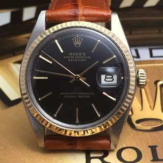 SOLD-    Rare 36mm Black Sunburst Rolex 1601 Datejust