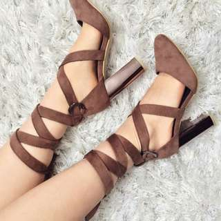Brown Lace-Up Pump