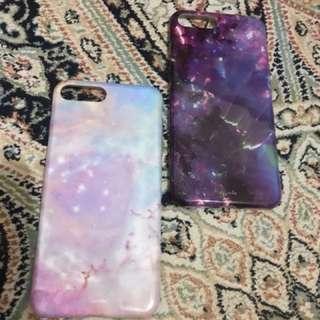 Iphone 7 手機殼 星空 少女 紫 粉