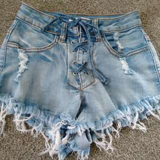 Supre light blue denim shorts-6