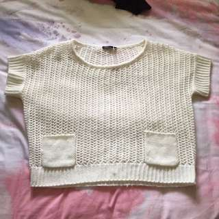 Free fusion size small crop knot shirt