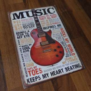 Cool Music theme steel plate display posters. 🎸