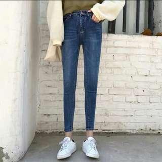 🚚 復古合身窄管彈力緊身九分牛仔褲 韓國古著歐美刷白
