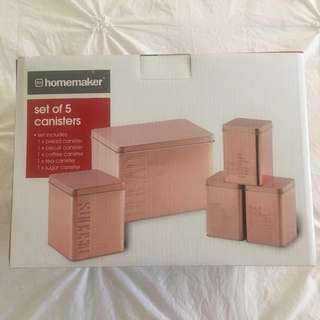 Kmart Homemaker Set of 5 Canisters, Rose Gold - RARE