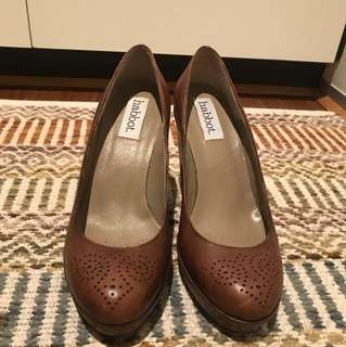 Brown real leather wedges with dotted detailing