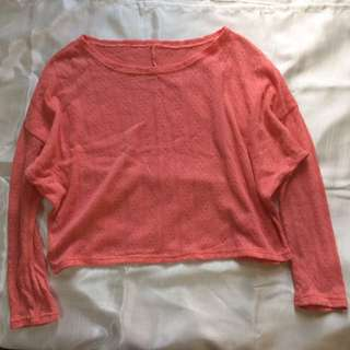 Coral Knit Long-sleeved Crop Top