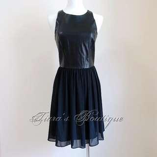 A|X Armani Exchange 皮革X雪紡紗 黑色搖滾洋裝 (109)