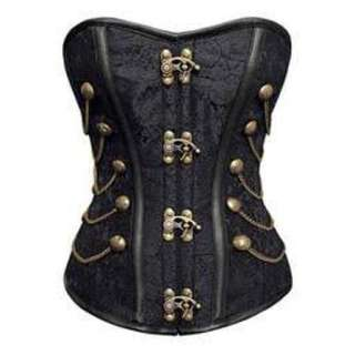 Size M Black Jacquard Overbust Corset with Metal Busk Closire in the Front.