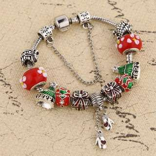 Pandora inspired bracelet with Christmas charms