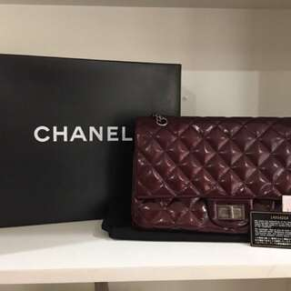 Chanel Reissue patent burgundy wine in jumbo size series 14