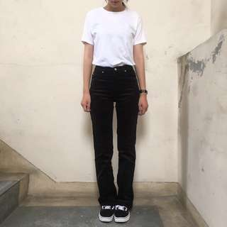 Lee老品庫存牛仔褲 燈芯絨高腰褲黑色 26腰❤️任選兩件減100✨古著復古vintage