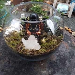 Round fishbowl memorial crystal garden