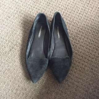 Windsor Smith Leather Black Suede Flats AU 6.5
