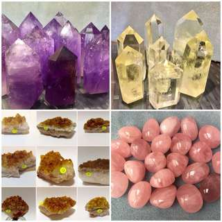 New Arrivals of Amethyst, Citrine Points, Druses, Rose Quartz Pebbles
