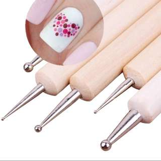 5Pcs 2 Way Wooden Dotting Pen Marbleizing Tool Nail Art Dot Dotting Tools