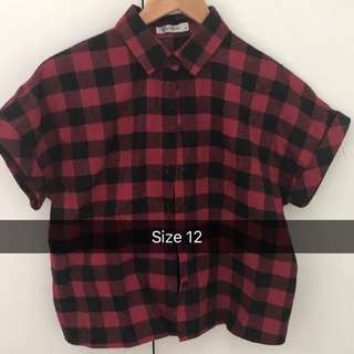 Plaid red and black shirt