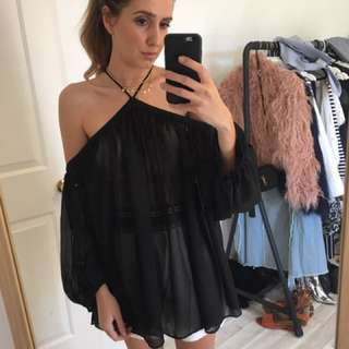 Eclectic Sheer black top - six 6 BNWT