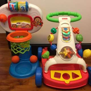 Fisher price walker and basketball net