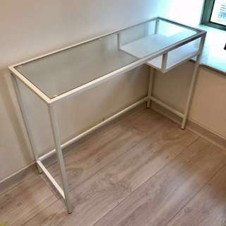 IKEA 玻璃 電腦檯 白色 (長100cm, 闊36cm, 高74cm)