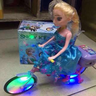Elsa from Frozen on a Moving Bike with Lights and Sound Toy