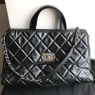 Chanel A4 size Black Leather Handbag
