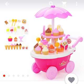 Simulation Small Cart Girl Mini Candy Cart Pretend Play Ice Cream Shop Supermarket for Children Educational Kitchen Toy Set Gift