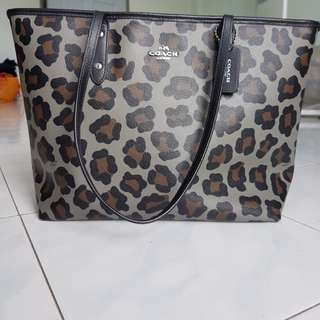 authentic coach leopard tote bag