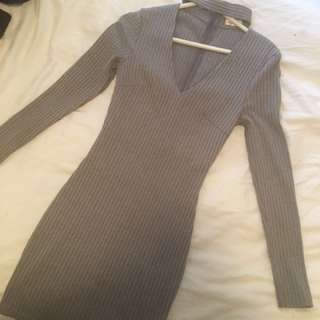 Grey Longsleeve Bodycon Dress
