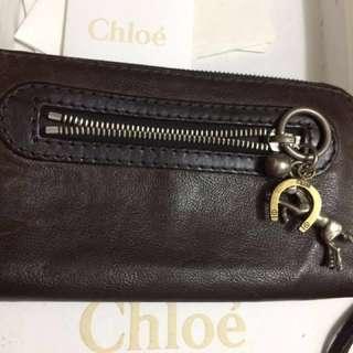 🚚 降價  2000(正品)Chloe.   真皮長夾、保存良好,保卡、咖啡色!