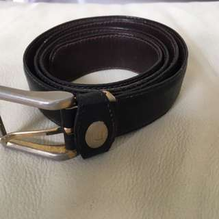 Original authentic Alfred Dunhill leather belt with gold brass buckle