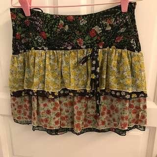 MNG short flowery skirt