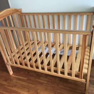 Baby Cot ( Rocio Drop Side 4 in 1 ) with Coir Mattress and Bedsheet