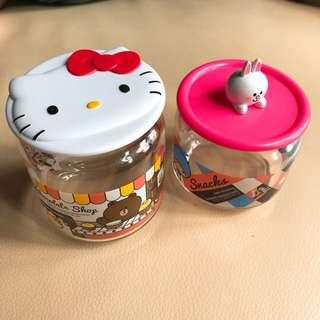 Hello Kitty x Line 玻璃瓶2個